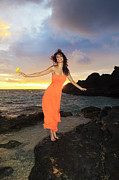 Hibiscus Coast Posters - Model in Orange Dress II Poster by Tomas Del Amo - Printscapes