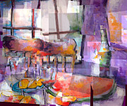 Indoor Still Life Originals - Moms Table by J Christian Sajous