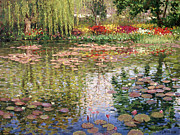 Weeping Willow Posters - Monets Lily Pond In Giverny Poster by Roelof Rossouw