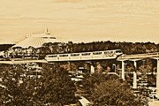 Magic Kingdom Digital Art - Monorail and Space Mountain Magic Kingdom Walt Disney World Prints Rustic by Shawn OBrien