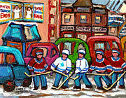 Hockey Painting Prints - Montreal Bagels And Hockey Print by Carole Spandau