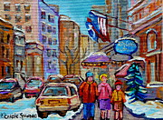 Flags Paintings - Montreal Street Scenes In Winter by Carole Spandau