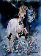 Moonlight Paintings - Moonlit Gallop by Maria Barry