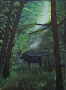Cabin Wall Originals - Moose In Pines by Leslie Allen