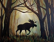 Cabin Wall Originals - Morning Meandering Moose by Leslie Allen