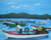 Puerto Rico Paintings - Morning Ritual by Gloria E Barreto-Rodriguez