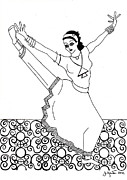 Moroccan Drawings Posters - Moroccan Dancer Poster by John Keaton
