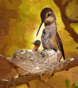 Clarence Alford - Mother Hummingbird and Hatchling