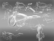 Car Drawings Posters - Motorcycle Concept Sketches Poster by Jeremy Lacy