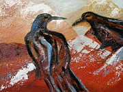 Wildlife Mixed Media Originals - Mountain Crows by Kristine Anderson