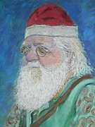 Father Christmas Pastels Prints - Mr. Claus Print by Gina Ward