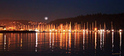 Sea Moon Full Moon Prints - Nanaimo Harbour Print by Dayvid Clarkson
