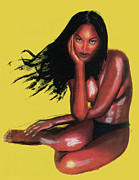 Naomi Framed Prints - Naomi Campbell Framed Print by Emmanuel Baliyanga