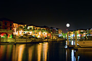 Moonlit Night Photos - Naples Boat Club by Mark Dottle