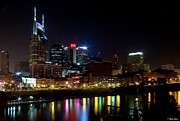 Hard Rock Cafe Building Prints - Nashville Skyline at Night Print by Brian Stamm