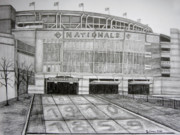 Washington Dc Drawings - Nationals Park by Juliana Dube