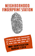 Administration Framed Prints - Neighborhood Fingerprint Station Framed Print by War Is Hell Store