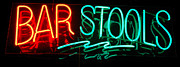 Advertisements Prints - Neon Bar Stools Print by Steven Milner