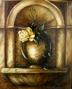 White Grape Painting Prints - Niche Print by Danuta Bennett