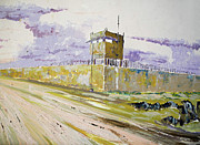Iraq Painting Originals - No Mans Land Tower 733 by Randall Rickards