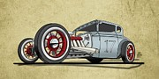 Old Car Drawings Posters - No.17 Poster by Jeremy Lacy