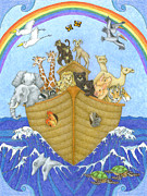Stories Drawings Prints - Noahs Ark Print by Alison Stein