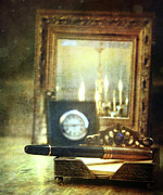 Rustic Photos - Nostalgic still life of writing pen with clock in background by Sandra Cunningham