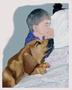 Dogs Drawings - Now I lay us down to sleep by Jim Hubbard
