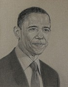 Obama Drawings Framed Prints - Obama 44 Framed Print by Edward E Waring
