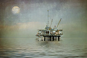 Sea Moon Full Moon Prints - Oil Platform Under the Moon Textured Print by Susan Gary