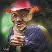 Old Man Digital Art Prints - Old Haitian Field Worker Print by Bob Salo