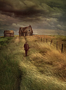Cold Posters - Old man walking up a path of tall grass with abandoned house in  Poster by Sandra Cunningham