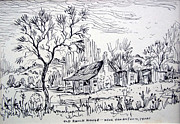 Log Cabin Drawings Prints - Old Ranch House Print by Bill Joseph  Markowski