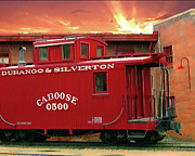 Caboose Digital Art Prints - Old Red Caboose 500 Print by Gary Baird