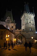 Karluv Most Photos - On the Charles Bridge at Night by Serena Bowles