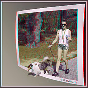 Collie Digital Art Posters - On The Trail - Red-Cyan 3D glasses required Poster by Brian Wallace