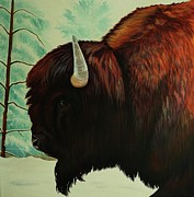 Expressive Native American Indian Posters - One Wet Bison Poster by Lucy Deane