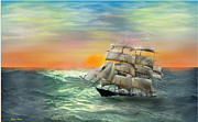 Pirate Ships Digital Art Posters - Open Seas Poster by Diane Haas