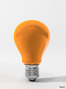 Ligth Bulb Digital Art Prints - Orange Ligth Bulb Print by BaloOm Studios