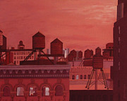Nyc Rooftop Prints - Orange Manhattan Print by Gary Conger