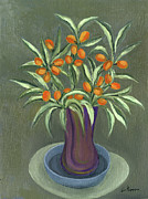 Vase Prints - Orange Olives Vase in purple green and a blue plate long leaves  Print by Rachel Hershkovitz