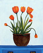 Barbara Griffin - Orange Tulips on a Blue Buffet