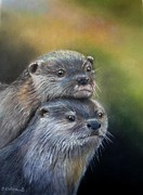 Endangered Pastels Prints - Otter Be Two Print by Ceci Watson