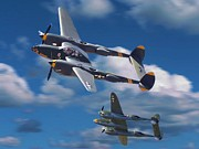 Devil Digital Art Originals - P-38 Lightnings by Garry Staranchuk