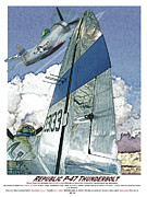 Republic Mixed Media Posters - P-47 Thunderbolt Poster by Kenneth De Tore