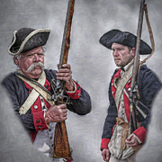 Revolutionary War Digital Art Prints - Pair of American Revolutionary War Soldiers Portrait Print by Randy Steele