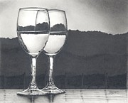 Wine Drawings - Pairing by Mark Treick