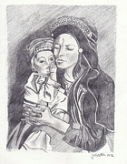John Keaton Drawings - Pakistani Mother and Child by John Keaton