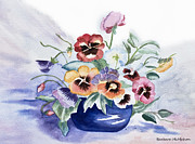 Barbara McMahon - Pansies In Blue Pot