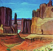 Cowboys And Indians Painting Framed Prints - Park Avenue Arches Framed Print by Lucy Deane